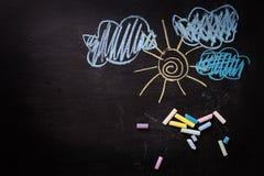 I disegni del bambino sul blackbord Posto per testo Fotografia Stock Libera da Diritti