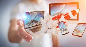 I dispositivi di collegamento di tecnologia dell'uomo d'affari ed il razzo startup 3D rendono Fotografia Stock