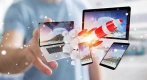 I dispositivi di collegamento di tecnologia dell'uomo d'affari ed il razzo startup 3D rendono Fotografie Stock