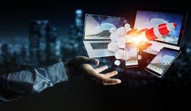 I dispositivi di collegamento di tecnologia dell'uomo d'affari ed il razzo startup 3D rendono Fotografie Stock Libere da Diritti