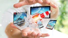 I dispositivi di collegamento di tecnologia dell'uomo d'affari ed il razzo startup 3D rendono Immagini Stock