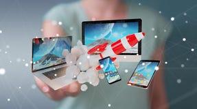 I dispositivi di collegamento di tecnologia della donna di affari ed il razzo startup 3D si strappano Fotografia Stock Libera da Diritti