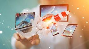 I dispositivi di collegamento di tecnologia della donna di affari ed il razzo startup 3D si strappano Immagini Stock