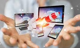 I dispositivi di collegamento di tecnologia della donna di affari ed il razzo startup 3D si strappano Fotografie Stock