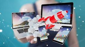 I dispositivi di collegamento di tecnologia della donna di affari ed il razzo startup 3D si strappano Fotografia Stock