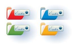 I dispositivi di piegatura verde blu e gialli rossi con entrano Immagini Stock