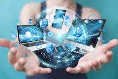 I dispositivi di tecnologia si sono collegati l'un l'altro dal renderi della donna di affari 3D Immagine Stock Libera da Diritti