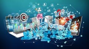 I dispositivi e gli oggetti business hanno collegato insieme la rappresentazione 3D Immagini Stock