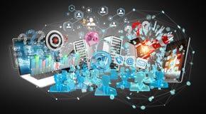 I dispositivi e gli oggetti business hanno collegato insieme la rappresentazione 3D Fotografia Stock