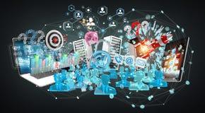I dispositivi e gli oggetti business hanno collegato insieme la rappresentazione 3D Fotografia Stock Libera da Diritti