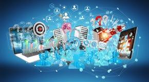 I dispositivi e gli oggetti business hanno collegato insieme la rappresentazione 3D Fotografie Stock Libere da Diritti