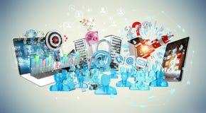 I dispositivi e gli oggetti business hanno collegato insieme la rappresentazione 3D Immagini Stock Libere da Diritti