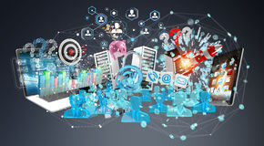 I dispositivi e gli oggetti business hanno collegato insieme la rappresentazione 3D Immagine Stock Libera da Diritti