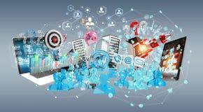 I dispositivi e gli oggetti business hanno collegato insieme la rappresentazione 3D Fotografie Stock