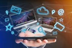 I dispositivi gradiscono lo smartphone, la compressa o il computer sorvolare il connecti Fotografia Stock
