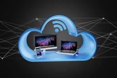 I dispositivi gradiscono lo smartphone, la compressa o il computer visualizzati in una nuvola Immagine Stock Libera da Diritti