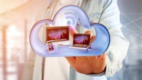 I dispositivi gradiscono lo smartphone, la compressa o il computer visualizzati in una nuvola Fotografia Stock