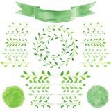 I distintivi dell'acquerello, foglie, circondano la corona verde, il nastro, emblema Fotografia Stock Libera da Diritti
