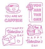 I distintivi di saluto del biglietto di S. Valentino progettano l'arte di vettore fotografie stock libere da diritti