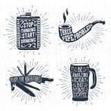 I distintivi disegnati a mano hanno messo con la boccetta, il tubo di fumo, il coltello svizzero e le termo illustrazioni della t Fotografie Stock Libere da Diritti