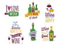 I distintivi e le etichette naturali disegnati a mano per vino vector il segno del menu dell'alcool del ristorante dell'illustraz Fotografia Stock