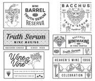 I distintivi e le icone del vino anneriscono su bianco B stabilita Fotografie Stock