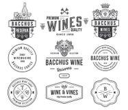 I distintivi e le icone del vino anneriscono su bianco hanno messo A Fotografia Stock Libera da Diritti