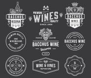 I distintivi e le icone del vino bianchi sul nero hanno messo A Fotografie Stock Libere da Diritti
