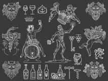 I distintivi e le icone del vino impacchettano il bianco sul nero Immagine Stock Libera da Diritti