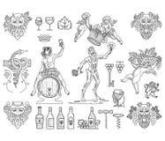 I distintivi e le icone del vino impacchettano il nero su bianco Fotografia Stock Libera da Diritti