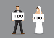 I Do Bride and Groom Vector illustration Royalty Free Stock Photos