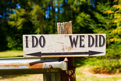 I Do We Did Wedding Sign Stock Image