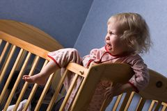 I do not want to sleep. Crying baby do not want to sleep Stock Photography
