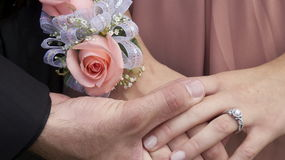 Wedding day hands and rings Royalty Free Stock Images
