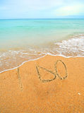 I do written in the sand for a wedding concept Stock Image