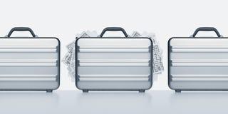 I documenti confidenziali hanno scoperto nella fila delle valigette immagini stock libere da diritti