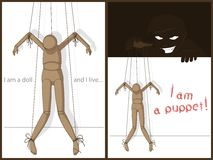 I am a doll. Puppet on threads operated by the malicious puppeteer Royalty Free Stock Photos