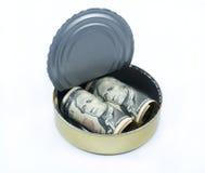 I dollari di Stati Uniti dentro possono Fotografie Stock