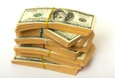 I dollari impilano la gomma bendata Fotografie Stock Libere da Diritti