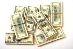 I dollari impilano la gomma bendata Immagine Stock