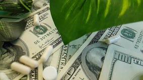 I dollari incapsula il farmaco costoso sano di concetto di investimento aziendale di terapia, fucilazione lenta archivi video