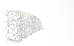 I domino di caduta formano le linee, i triangoli e la progettazione di stile della particella fotografie stock