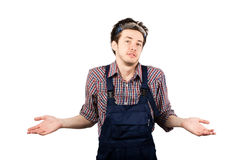I don't know. Stylish worker looking at camera and saying I don't know royalty free stock photography