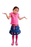 I Don't Know. A young girl lifts her arms ....I don't know Stock Photos