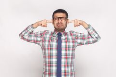Free I Don`t Want To Hear. Closed Eyes Unhappy Bearded Businessman In Stock Images - 126041774