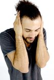 I don't want to listen anybody I need peace. Handsome man not willing to listen bad news stock photos