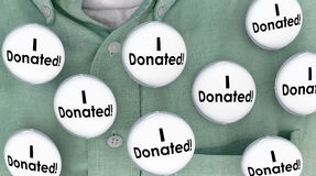 I Donated Gave Money Donation Contributor Buttons Pins. 3d Illustration stock illustration