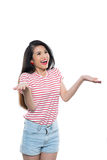 I dont know. Smiling Vietnamese young woman shrugging her shoulders, isolated on white Stock Images