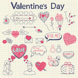 I doodles del biglietto di S. Valentino hanno impostato Immagini Stock