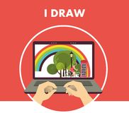 I draw. Round emblem with a laptop on the screen, press the key figure in the human hands Stock Photo